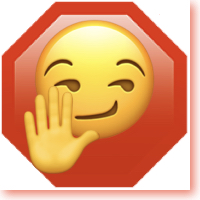stylized smug face with raised hand in front of stop sign